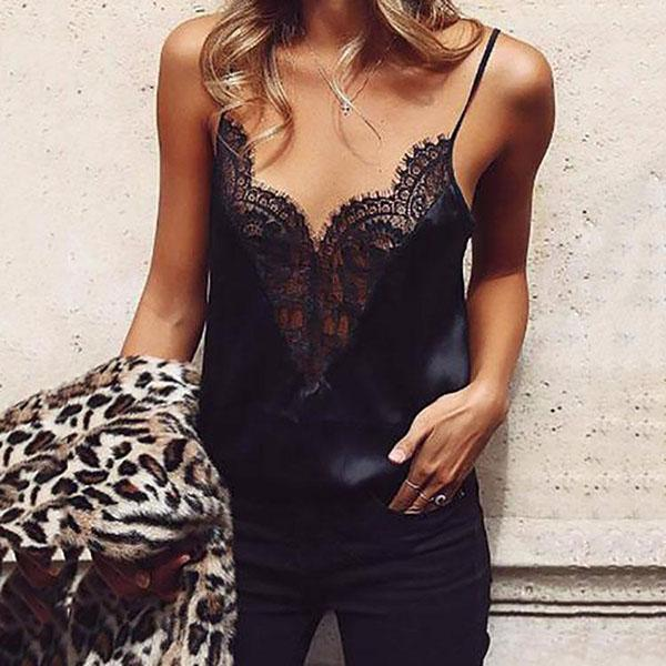 Sexy V Neck Backless Patchwork Lace Vests