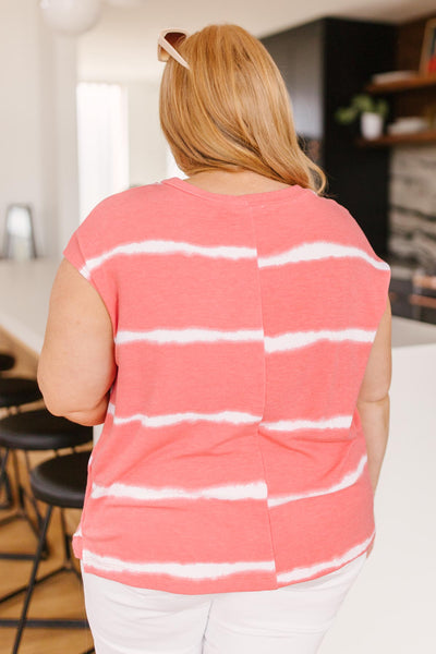 Casual In Stripes Top In Coral