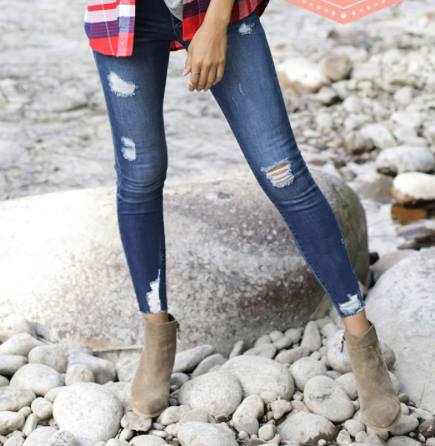 Distressed Mid-Rise Pull-On Denim