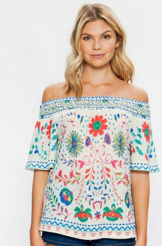 The Floral Print Off Shoulder Top