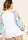 The Floral Boho Sleeve Top - Pink & White