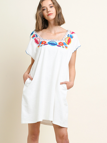 The Embroidered Fiesta Dress - White