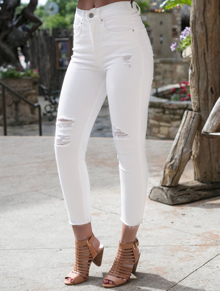 White Cropped Happy Denim