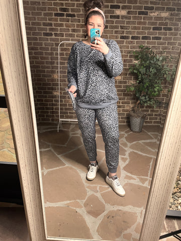 The Grey Leopard Jogger/Sweatshirt Set