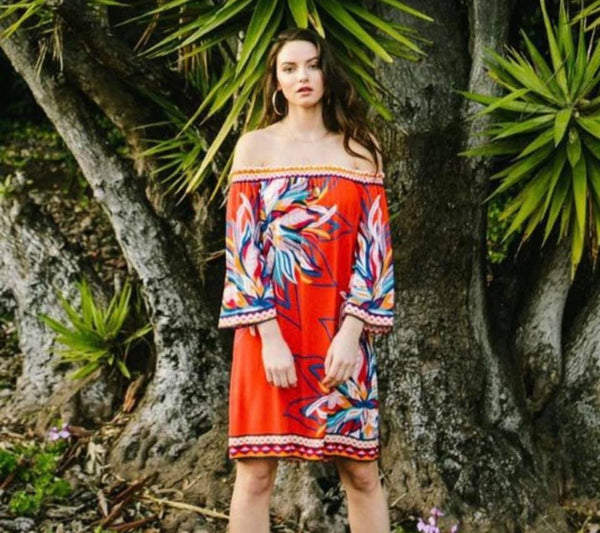 The Bold Red Tropical Dress