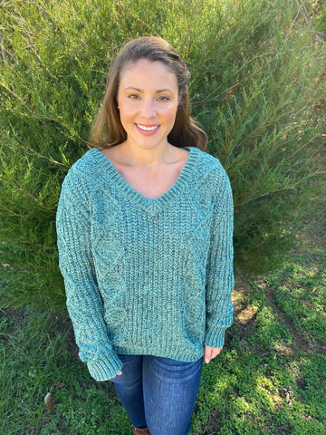 The Bre Chenille Sweater in Green