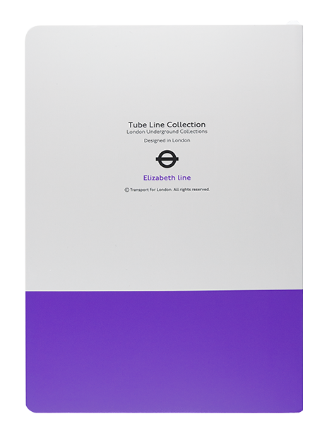 Reverse of a London Underground Elizabeth Line A5 Notebook