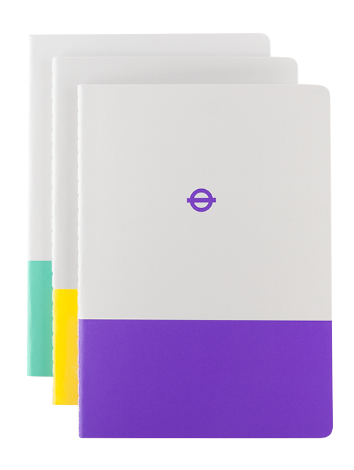 London Underground A6 Notebook Set of three (Waterloo & City Line, Circle and Elizabeth)
