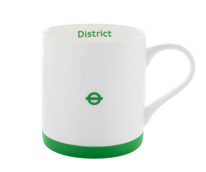 Green and white London Underground District Line Mug with roundel