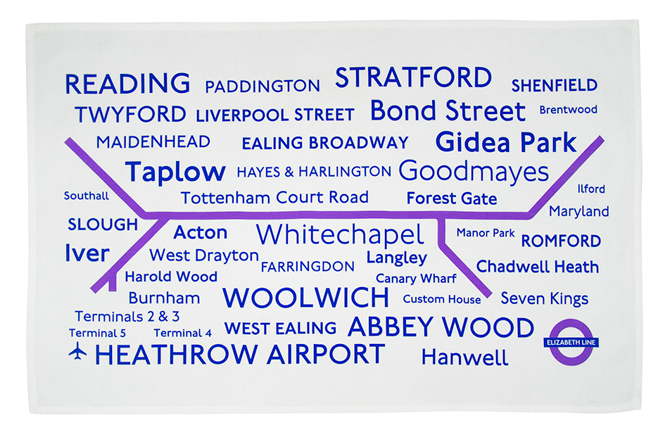 London Underground Elizabeth Line Tea Towel