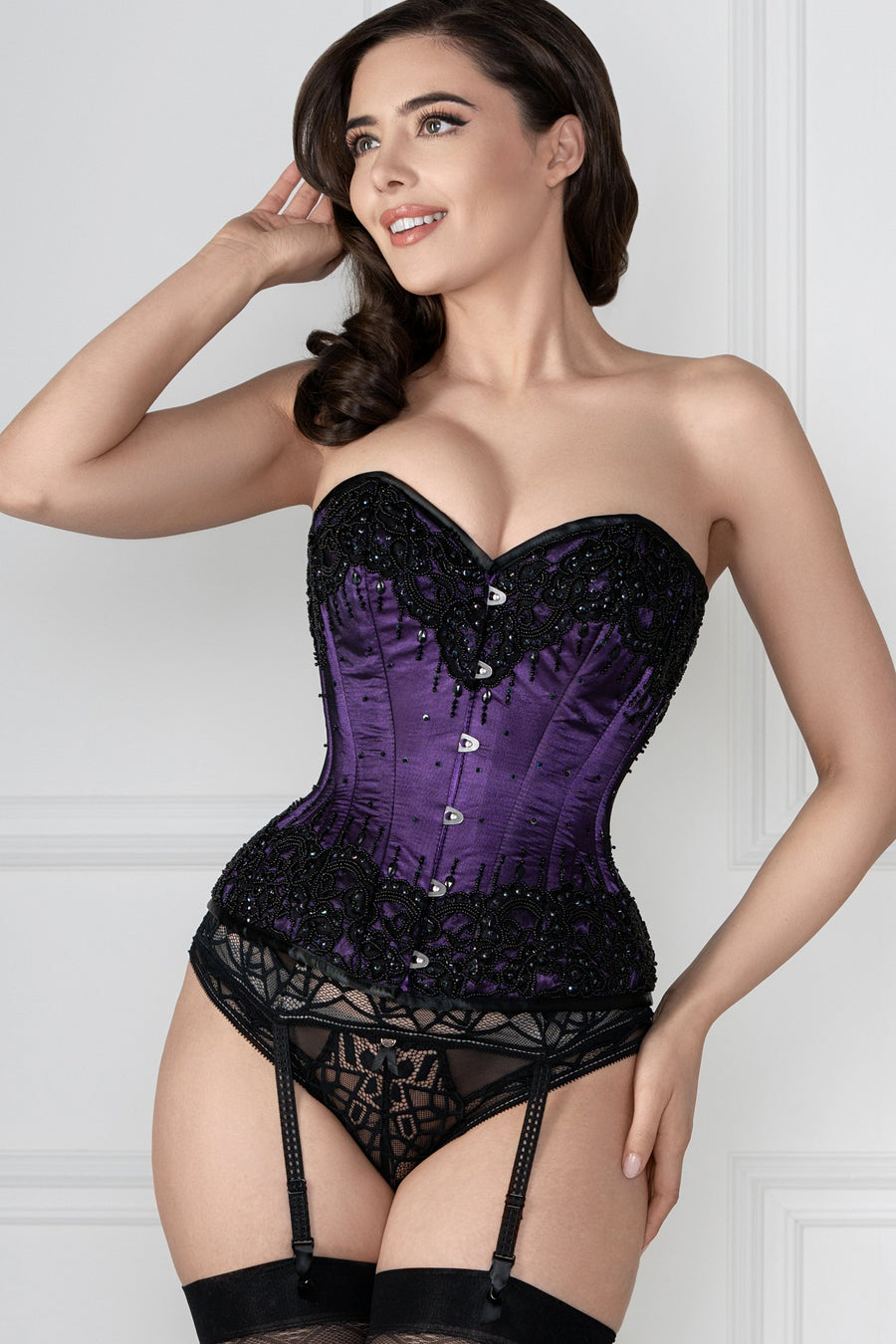 Corsetto in raso couture violetto
