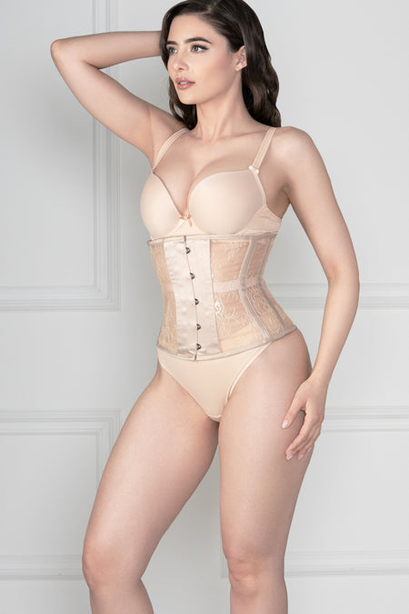 White Lingerie Weight Mesh Underbust Corset
