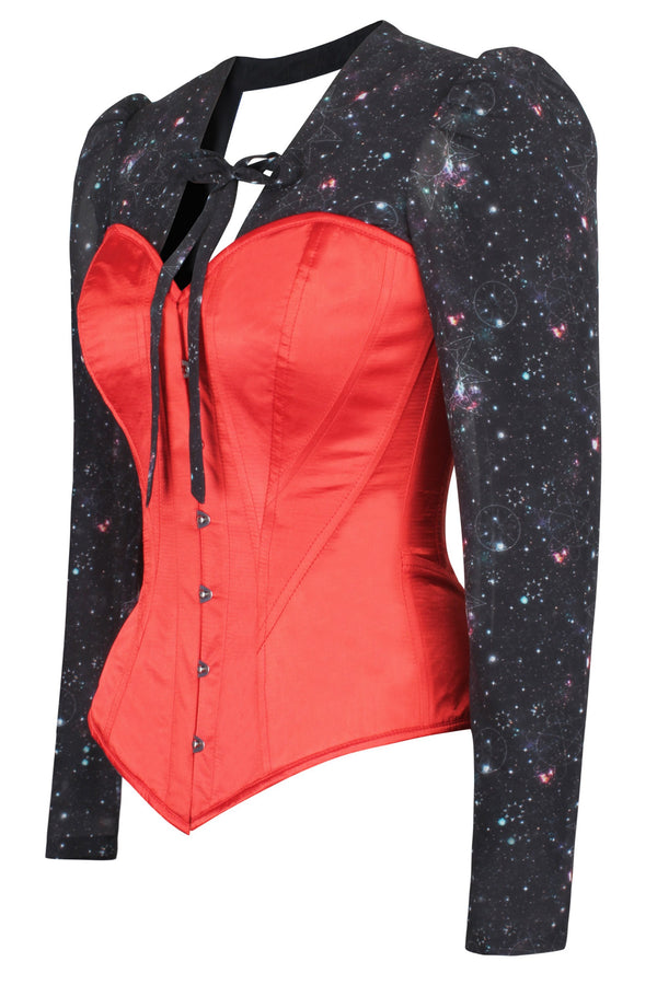 Red Astronomy Corset Shirt Top