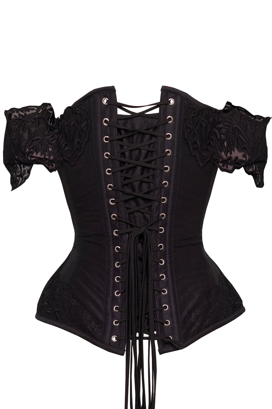 Black Corset Top with Lace Cap Sleeve