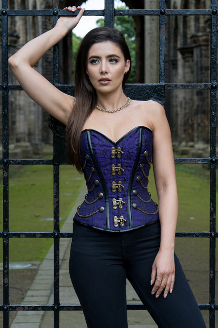 Corsetto Steampunk violetto con catenelle