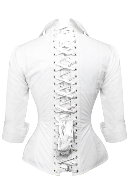 Full Steel Boned White Corset Shirt