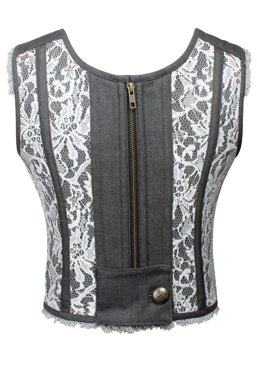 Net Overlay and Denim Bodice Corset with Zip