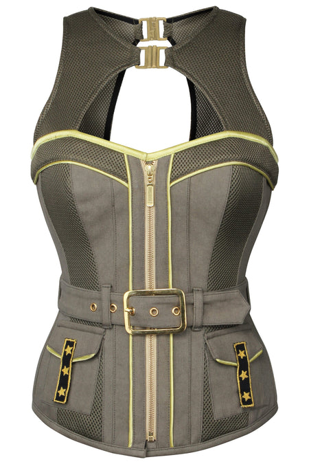 Military Style Zip and Buckle Corset