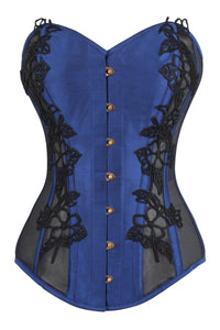 Navy Blue Longline Overbust Corset with Black Lace and Mesh Panels