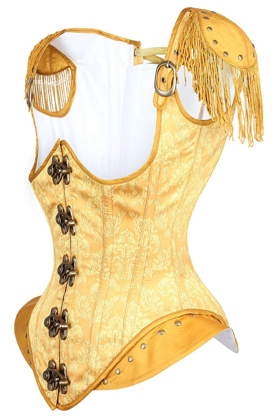 Golden Steampunk Underbust Corset With Hip And Shoulder Detail