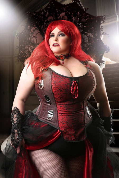 Red and Black Steampunk Overbust Corset with Shoulder Straps