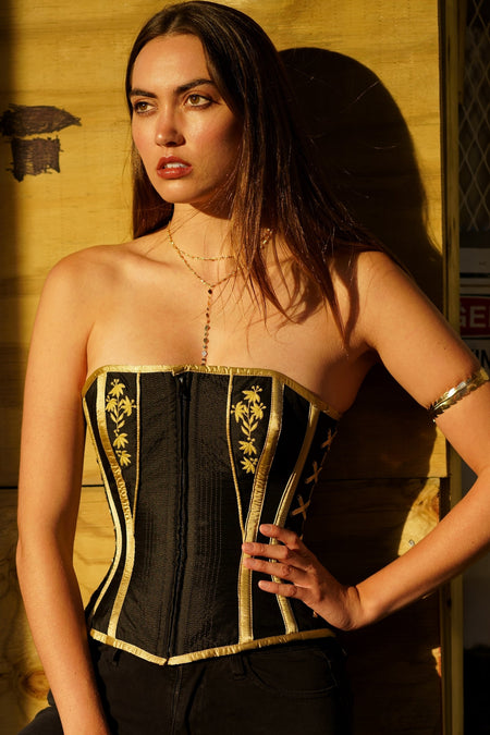 Zipped Embroidery Overbust Corset
