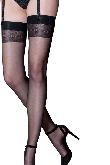 Bliss Geo Sheer 12 Denier Stocking - Black