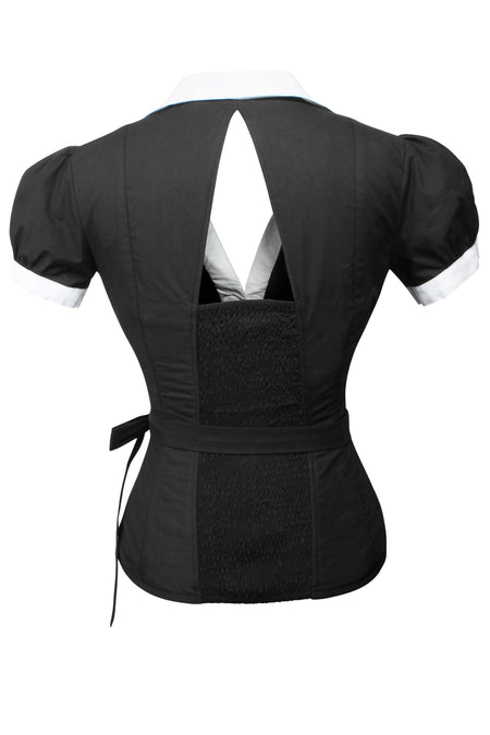 Black and White Monochrome Corset Shirt
