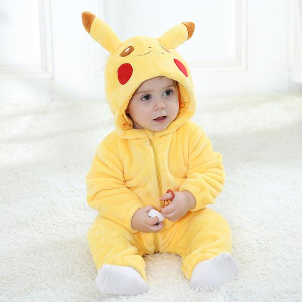Pokemon Go Hooded Cartoon Design Baby Flannel Romper