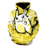 Pokemon Pikachu Cartoon 3D Print Men's Long Sleeves Hooded Pullover