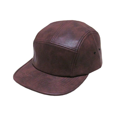 pu-leather-5-panel-snapback-cap