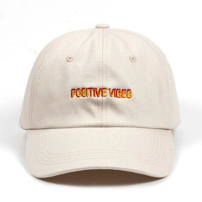 Positive Vibes Dad Hat - Beige - Dad Hats