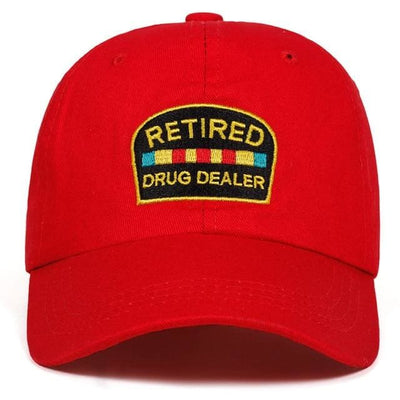 Retired Drug Dealer Dad Hat - Red - Dad Hats