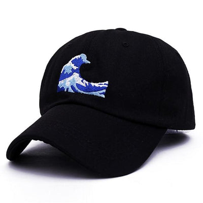 Wave Dad Hat - Black - Dad Hats