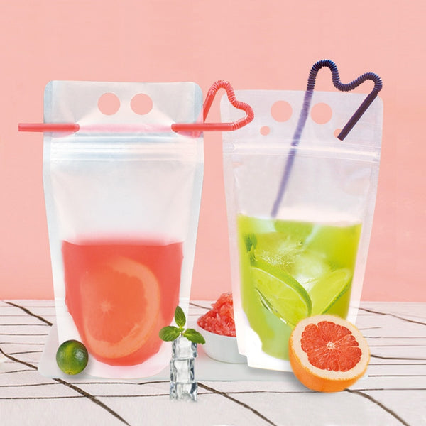 Double-hole Frosted Beverage Pouch Drinking Bag