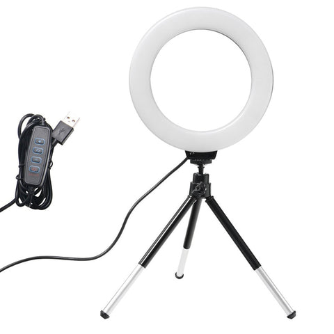 6inch Mini LED Desktop Video Ring Light Selfie Lamp With Tripod Stand