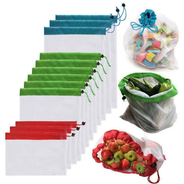 15 pcs Reusable Mesh Product Bags Eco-Friendly Grocery Bags