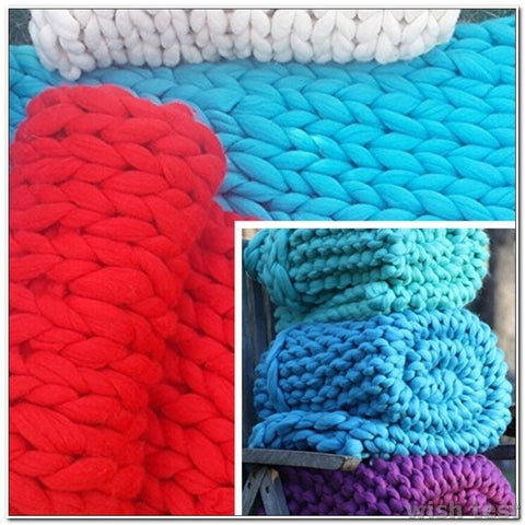 Super Thick Chunky Yarn Bulky Hand Knitting Blanket