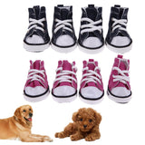 4 pcs Denim Pet Dog Shoes Anti-slip Waterproof Sporty Sneakers