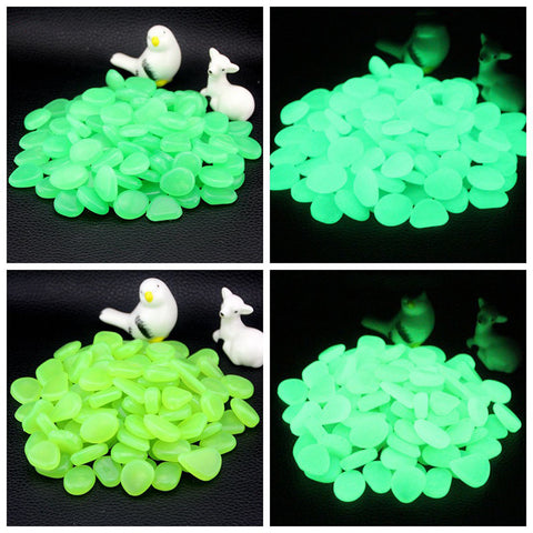 300 Pcs Glow In The Dark Bright Pebbles Aquarium Garden Decor