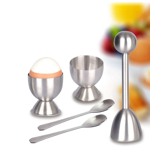 Egg Cracker Tool – Include Spoons and Cups-Shell Remover & Cutter-Steel Spoon & Cup
