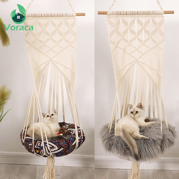 Boho Style Cat Swing Cage Bed Handmade Hanging Sleep