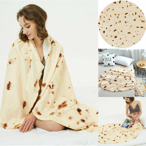 Burrito Tortilla Round Soft and Warm Blanket