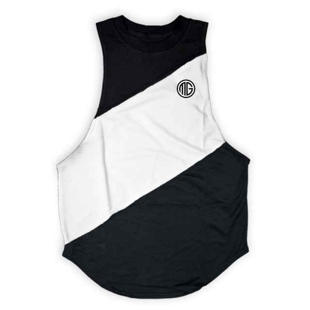 Brand Fitness Clothing Gyms Tank Top Mens Bodybuilding Stringers Cotton Patchwork Mesh Workout Singlet Sporting Sleeveless Shirt