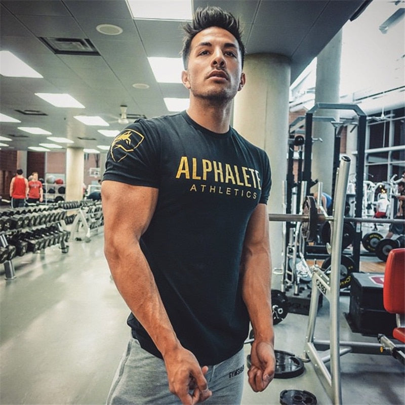 2018 Drop Shipping Gyms t-shirt mens fitness t-shirt fashion Bodybuilding t shirt men fitness crossfit Summer shirts