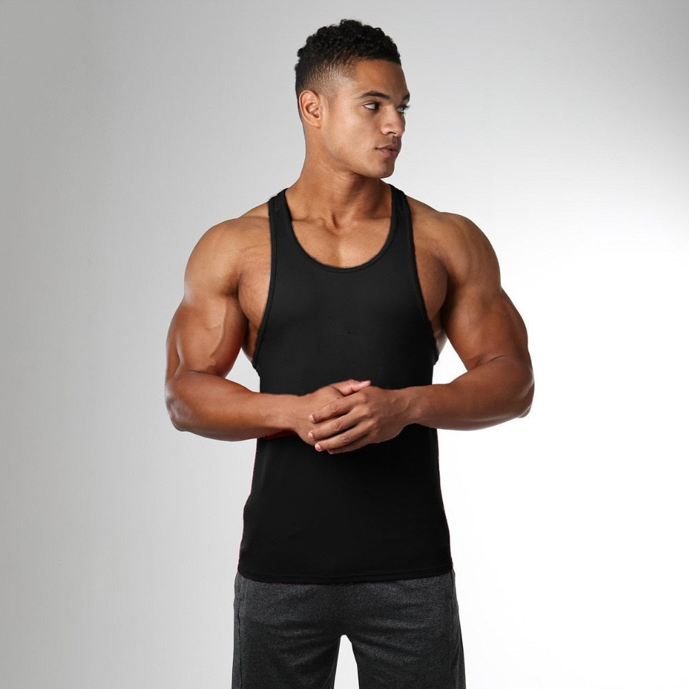 SKDK 1PC Gym Running Vest Men Crossfit Fitness Vest Muscle Training Tanks Undershirt Bodybuilding Sports Wear Men Sport Tanks