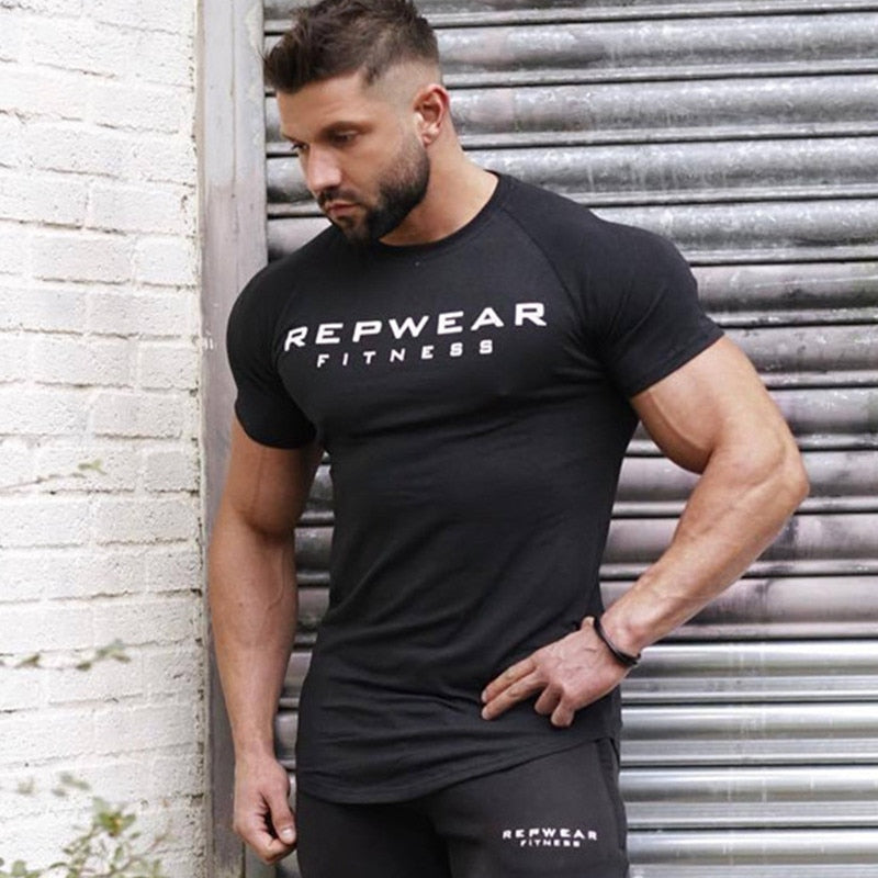 2019 New summer shirt cotton gym fitness men t-shirt brand clothing Sports t shirt male print short sleeve Running t shirt