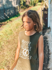 Give Peace A Chance Tank - Khaki