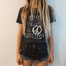 Load image into Gallery viewer, Give Peace A Chance Tee - Black Marle
