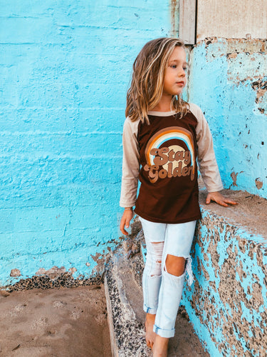 STAY GOLDEN Raglan tee - Brown